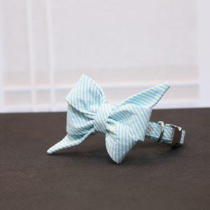 CLL Blue Seersucker Belle Dog Bow Tie